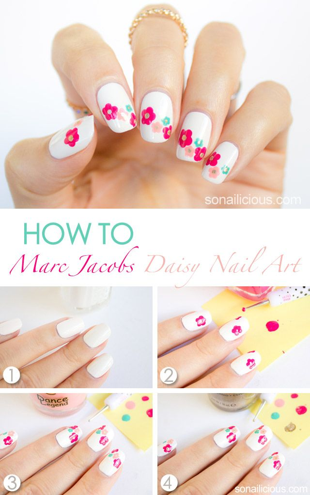 Marc Jacobs Daisy Delight Inspired Spring Nail Art Tutorial #nails #NailArt #NailDesigns