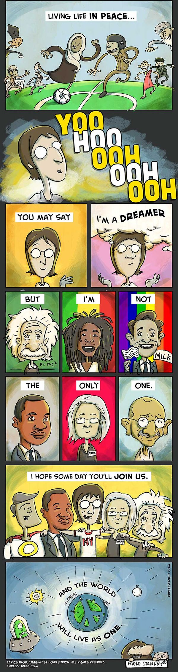 John Lennon's 'Imagine' Made Into A Comic Strip... The World Is Run By Insane People