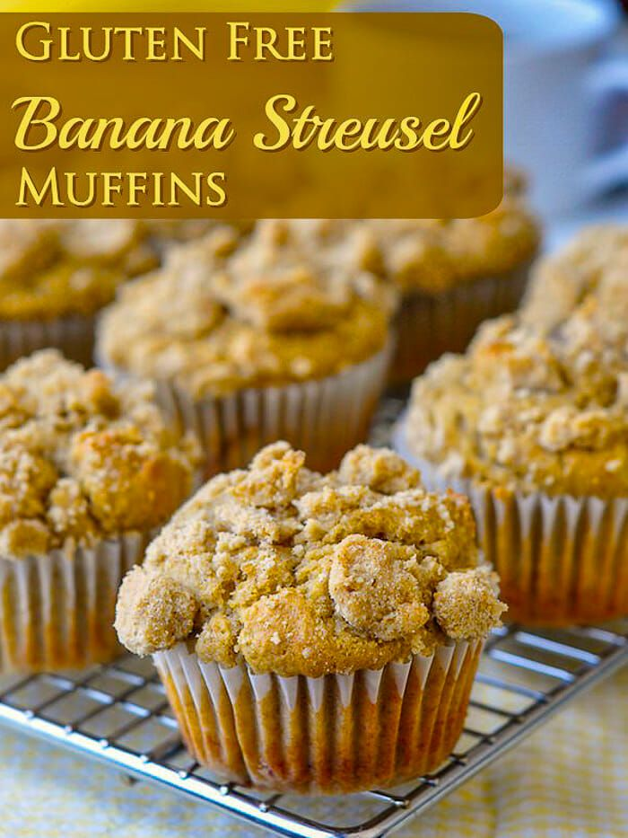 Gluten Free Banana Muffins with Brown Sugar Shortbread Streusel image with title text