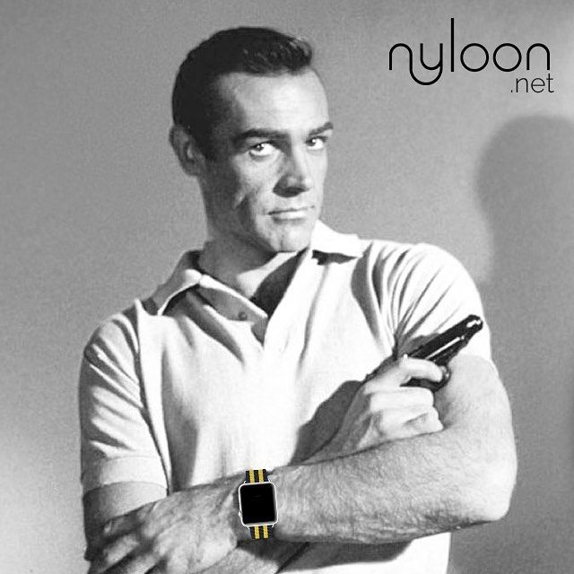 Did you know that the nylon wristband known as a Nato strap was originally designed by the British Ministry of Defense so that it could to be worn over or under clothing such as a flight suit or wetsuit and to keep the buckle away from the underside of the wrist supposedly to prevent it catching on clothing - or weapons. Was popularised by actor Sean Connery in the film Dr. No the first James Bond film.  Now you can wear them in your Apple Watch. Get yours at www.nyloon.net #natoband…