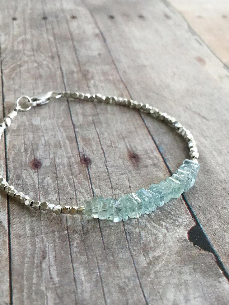 Aquamarine Gemstone Bracelet / March Birthstone Gift / Delicate Silver Bead Jewelry