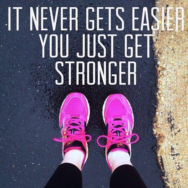 """It never gets easier, you just get stronger."" #runchat #MotivationalMonday #RunningWarehouse"