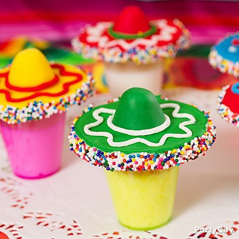 Decor/dessert: This is how you decorate a sombrero dessert topper.  I'm trying this on top of my chocolate cupcakes with avocado frosting!