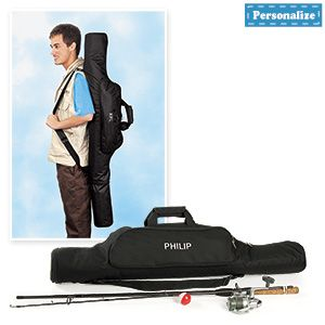 "Personalized fishing rod case keeps all your gear handy and ready to go! Durable bag with zippered entry has a foam-padded main compartment to protect rods and reels and expands from 39"" to 49"". Two easy-access outside pockets hold lures, bait, tackle knives and accessories. 11-1/2""W"