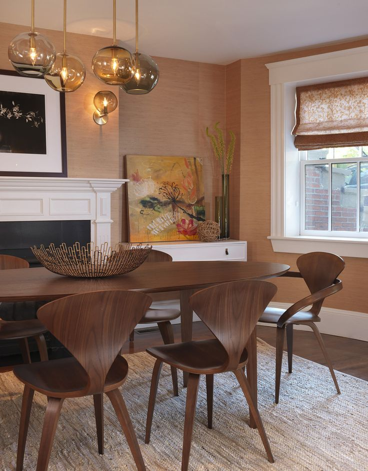 Oval Dining Table Room Transitional With Cherner Armchair