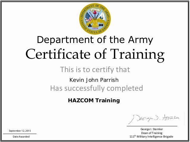 Army Cls Certificate Template Unique Haz Trainig Certificate Template Certificate Templates Templates