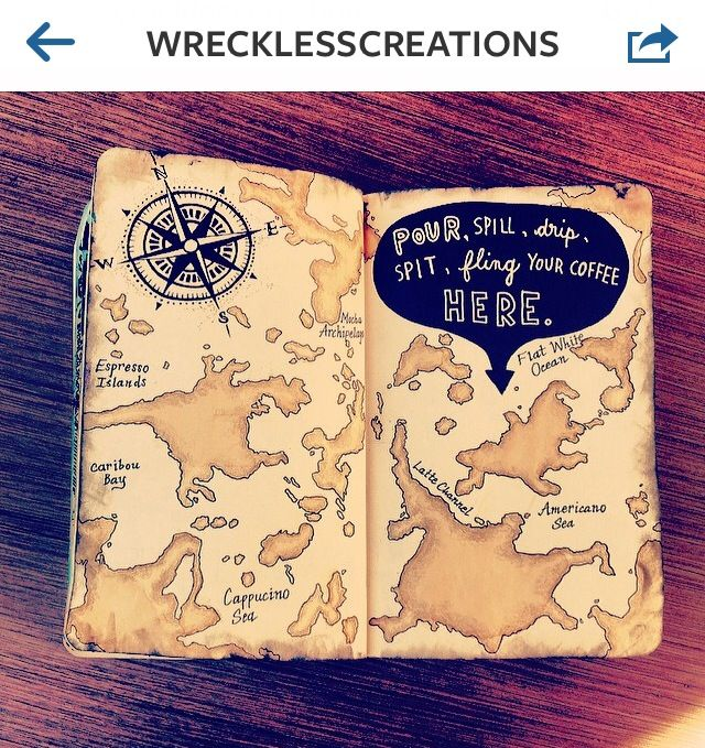"Wreck this Journal by Keri Smith | ""Pour, spill, drip, spit, fling your coffees…"