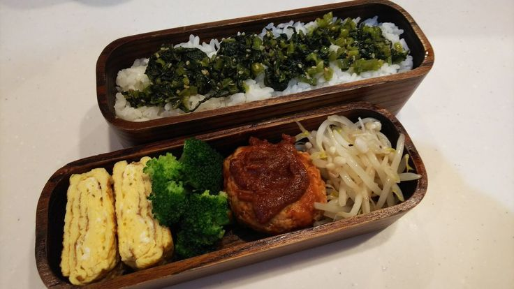 posted by @hiroko_13d 今日のお弁当🍱 小松菜ご飯、玉子焼き、ブロッコリー、ハンバーグ、もやしえのき炒め #お弁当 #obento #obentoart