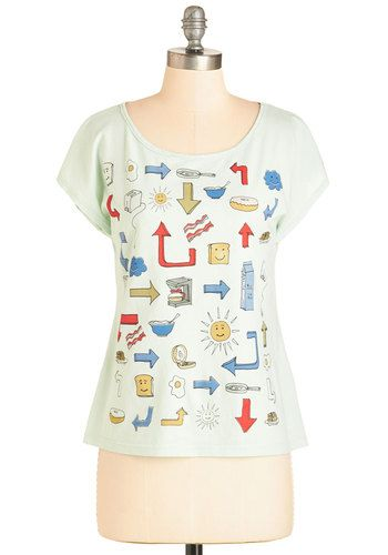Sunny Side Up and At 'Em! Top - Mid-length, Cotton, Knit, Multi, Novelty Print, Casual, Cap Sleeves, Scoop