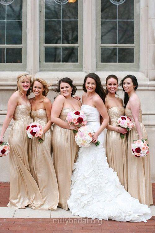 Champagne Bridesmaid Dresses, Long Bridesmaid Dresses, Chiffon with Ruffles Casual Sweetheart Empire Bridesmaid Dress