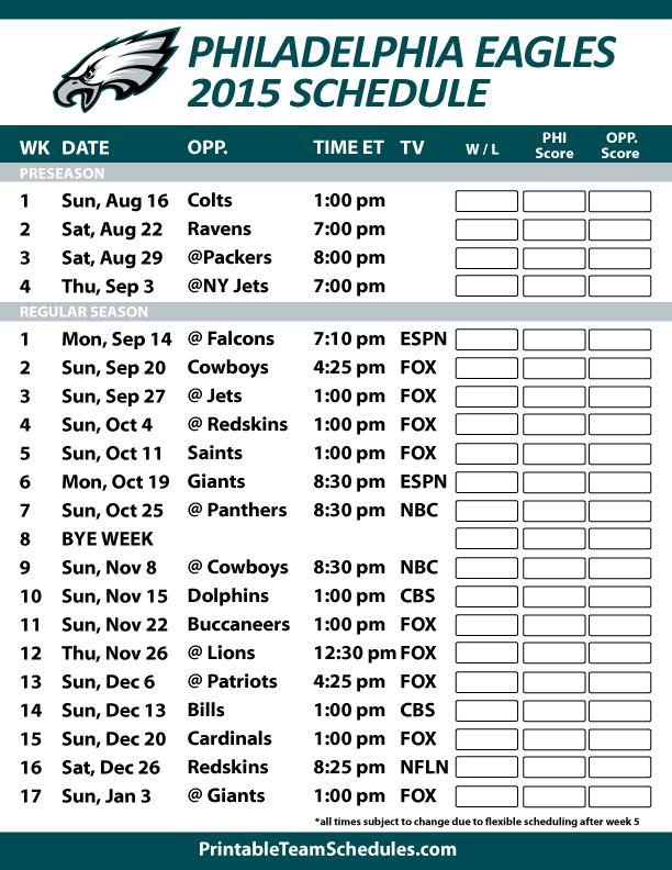 Philadelphia Eagles 2015 Schedule. Printable version here: http://printableteamschedules.com/NFL/philadelphiaeaglesschedule.php
