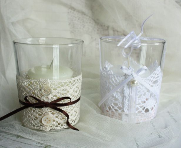 wedding favors. bomboniere di matrimonio - candele profumate decorate a mano con pizzo, nastri e bottoni