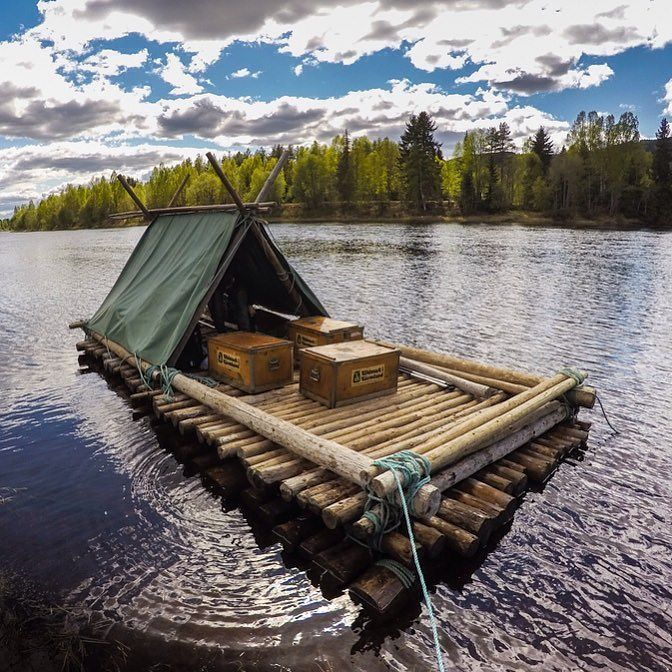 Very proud of this raft I built with @Haglofs to sail down a river in Sweden…