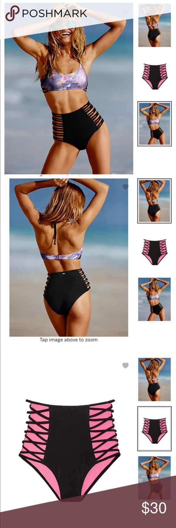 Victoria's Secret High Waist Strappy Bikini Bottom Rock the retro-vibe with open, crisscross sides and a high-waist. Mix & match all our cute suits—swimwear by Victoria's Secret PINK.  Moderate coverage High-rise Fully lined Imported nylon/spandex PINK Victoria's Secret Swim Bikinis