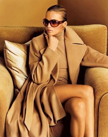 timeless camel coat and dress and great sun glasses - classic and timeless style!