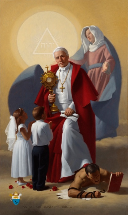 """Pope St. Pius X"" by Neilson Carlin. Pope St. Pius X with the Eucharist, Mary, and two first communicants, stepping on the devil...i can't even take how awesome this is"