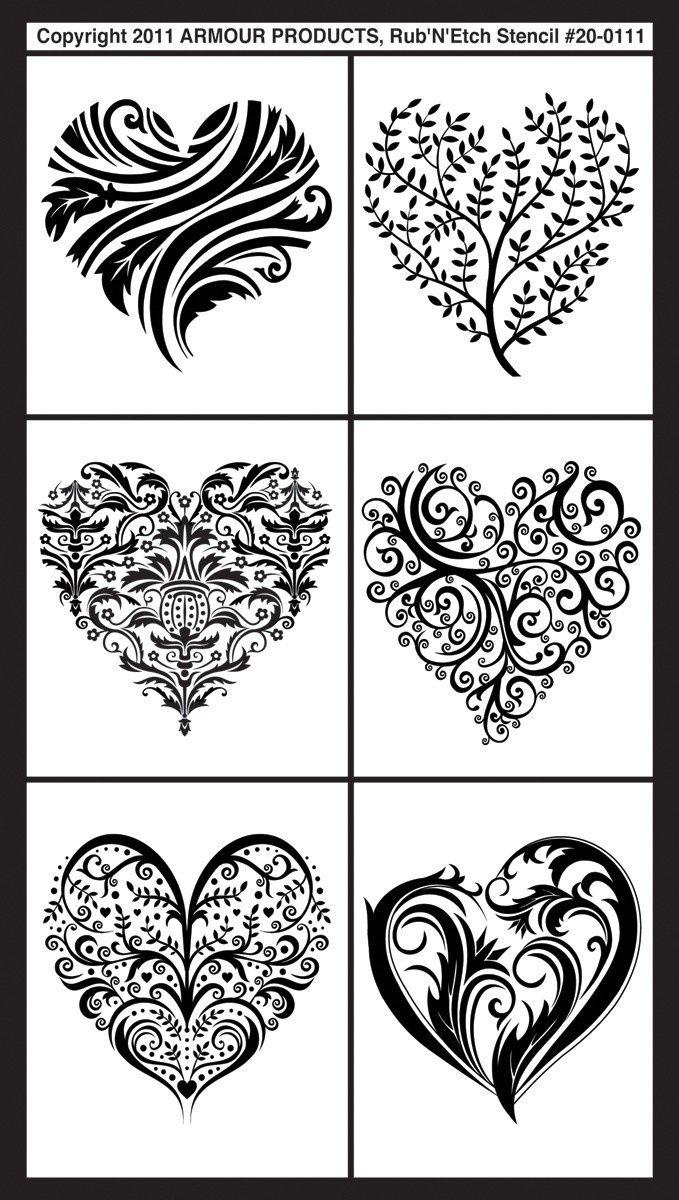 """Fancy Hearts Rub 'n' Etch Glass Etching Stencils 5""""X8"""" 1/Pkg 20R-0111"""