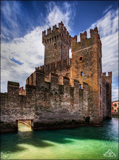 Scaliger Castle (13th century), on Lake Garda, Sirmione, Brescia, Lombardy, Italy
