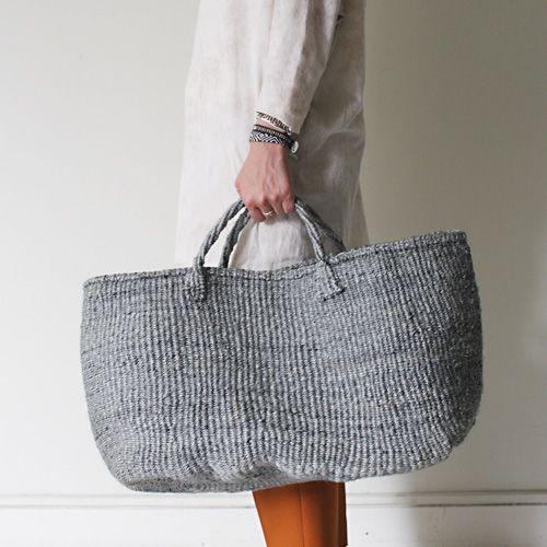 gray sisal tote bag