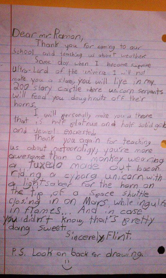 Thank You Letter To A Weatherman Who Visited A Boys School Lol