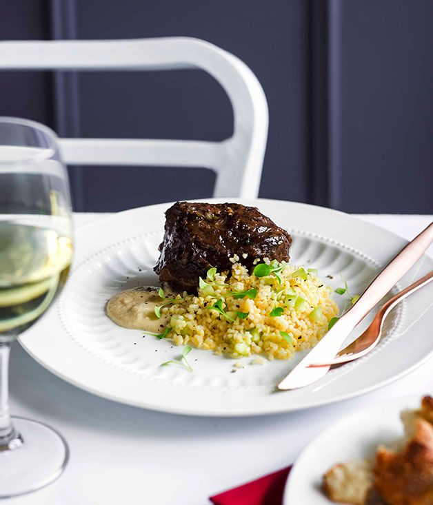 Australian Gourmet Traveller recipe for Braised beef cheek, burghul salad, and bread and anchovy sauce