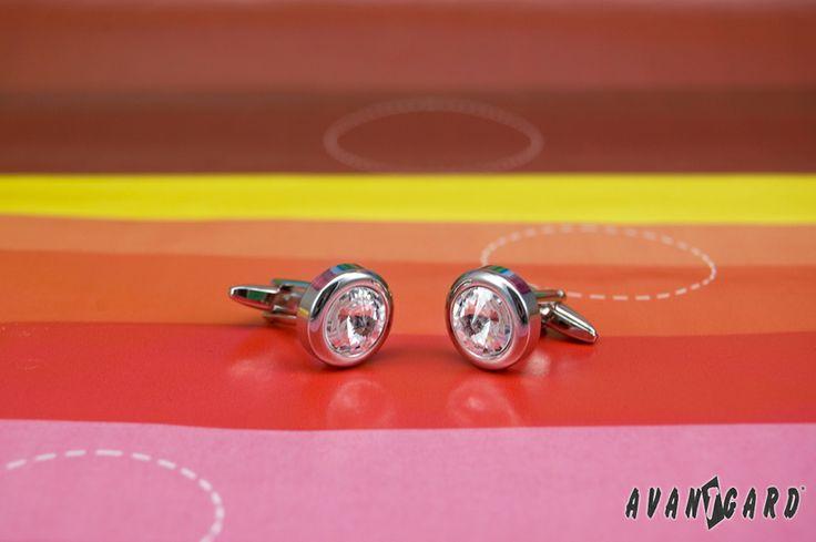 Manžetové knoflíčky Avantgard s kamínky z duhové inspirace / Cufflinks, rainbow, inspiration