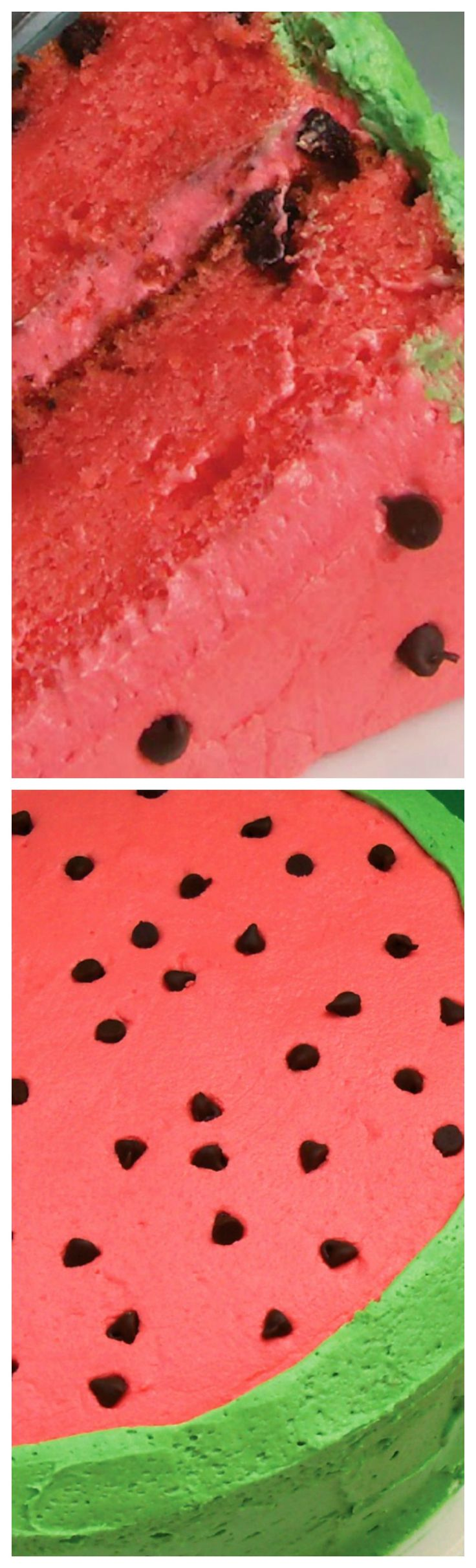 Watermelon Flavored Cake ~  Watermelon puree and Jell-O give this cake it's flavor, and it is fantastic... And the frosting is SO good!