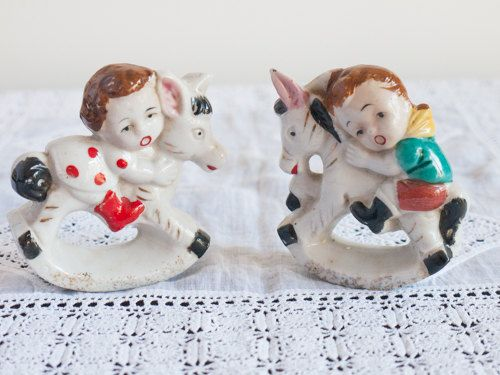 A pair of vintage hand painted girl and boy by freshdarling