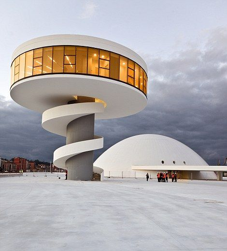 The Oscar Niemeyer International Cultural Centre in Aviles, Spain >>> what an awesome looking building! Doesn't it make you wonder why most buildings are so boring?