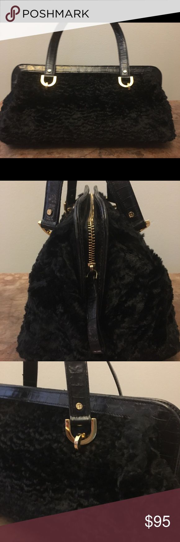 Kate Spade faux persian fur bag Kate Spade new york black faux fur (perisan lamb) bag. Elegant and gently used. Crocodile leather straps, bottom and edging (im not sure if this is genuine leather or not?) Gold zipper and bottom studs, bright green lining with a few pen marks that may wash out kate spade Bags