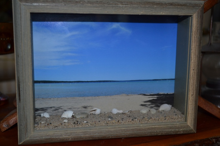 shadow box i made with a photo i took of the beach where me and my husband had our first date and went back on our 20th annv.   sand and shells from the beach