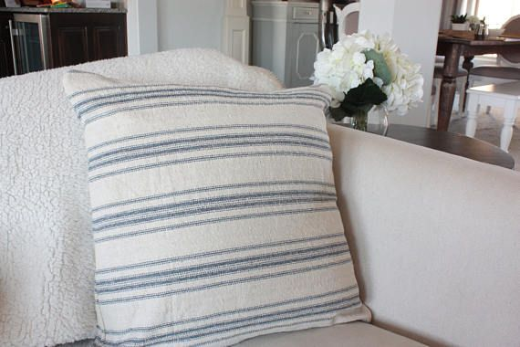 Beige with Blue Ticking Stripes Grain Sack Style Pillow Cover// Farmhouse Pillows// Decorative Pillows// Throw Pillows// Couch Pillows// Bed Pillows// Chair Pillows This beautiful hand cut and sewn pillow cover is made from a grain sack reproduction fabric, with woven stripes (not