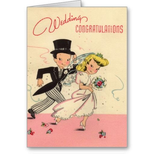 "Wedding Congratulations Card - Wedding Gift Note Card http://www.zazzle.com/totally_retro_wedding_congratulations_card-137545100718692982?rf=238756979555966366&tc=PinJD  Totally Retro Wedding Congratulations Totally retro. Pale peach and pink background with a cartoon bride and groom in tux and wedding gown hurrying through thrown confetti. The bride is blond and carrying her bouquet. At the top are the words in pink: ""Wedding "" ( in script) and ""Congratulations"" ( not in script). The.."