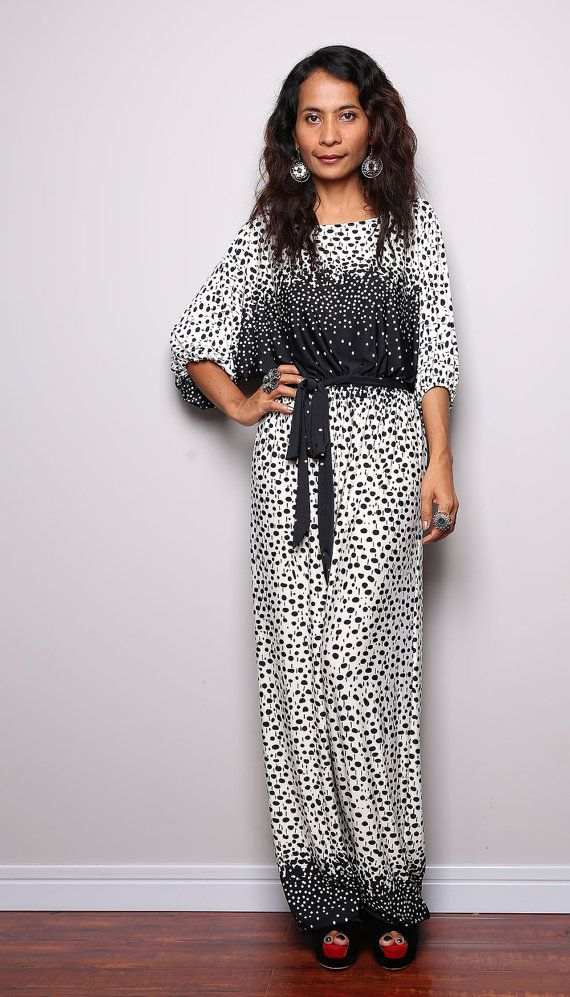 Jumpsuit Dress   Black and White Jumper Maxi Dress  by Nuichan, $59.00