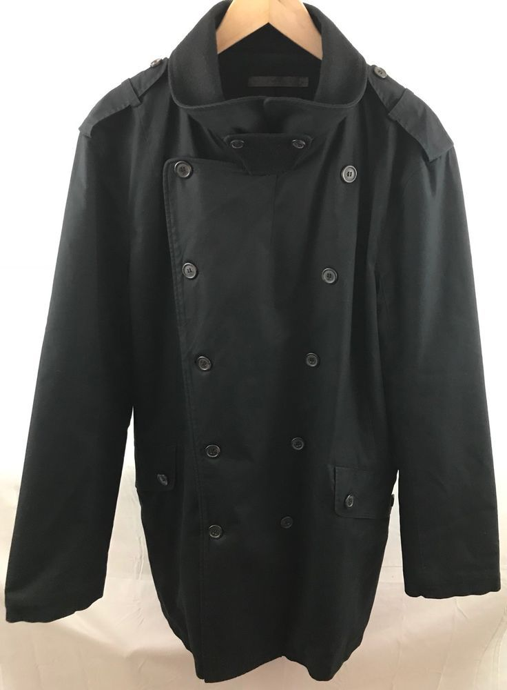 NICHOLAS K Womens XL Black Rain Trech Coat/jacket Wool Blend Double Breasted