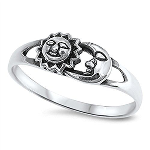 Sun Moon Universe Space Fashion Ring New .925 Sterling Silver Band