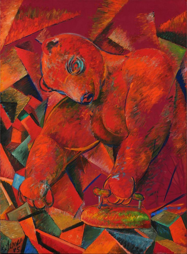 Kelemen Károly: Vasaló medve, avagy nehéz az élet, 1985 olaj, vászon, 190 x 140 cm