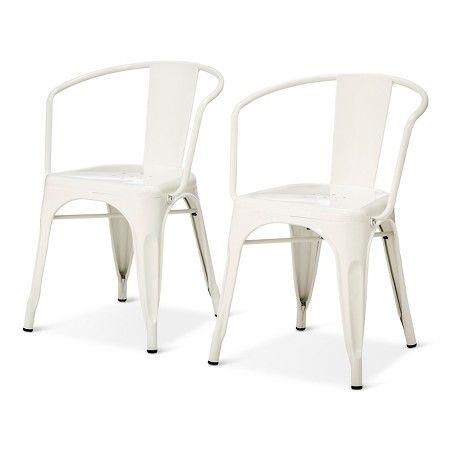 white - Carlisle Metal Dining Chair - Natural Metal (Set of 2) : Target