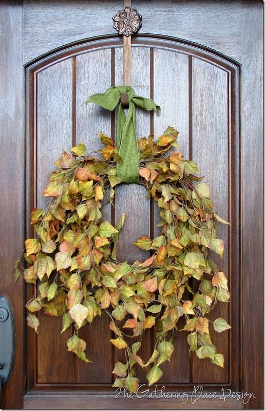 I wanted a simple wreath with a natural look.  This was so easy to make.  I just used some flowing fall leaf stems and stuck them in a grapevine base starting at the top and working my way down.  I wanted them to hang on the wreath base  just as if they were growing on it.  - From the Gathering Place Design: Fall Front Porches, Fall Leaves, Fall Decor, Doors Decor, Autumn Leaves, Simple Fall Wreaths, Front Doors, Wreaths Ideas, Autumn Wreaths