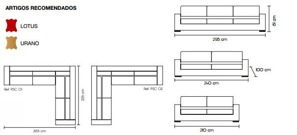 Medidas do sofá de couro com 3 lugares e estofado Poseidon