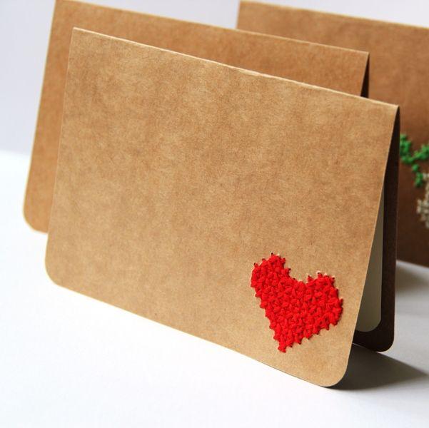 Cross Stitch Card - Christmas Cards Set - PEACE JOY LOVE