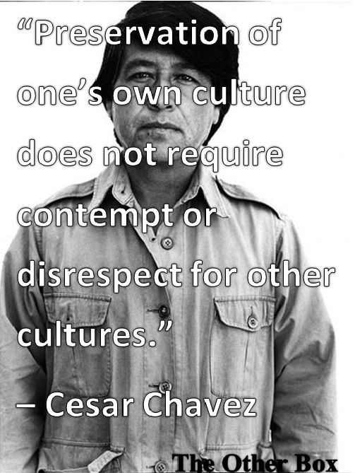 Preservation of one's own culture does not require contempt or disrespect for other cultures. ~Cesar Chavez