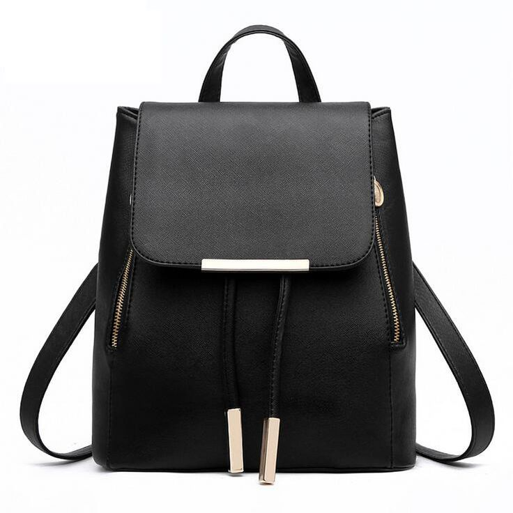 Faux leather backpack bag with fashion styling available in 9 different colors.