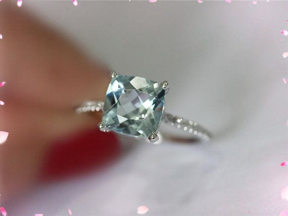 14K White Gold 8mm Cushion VS Aquamarine Ring by LoveGemArts