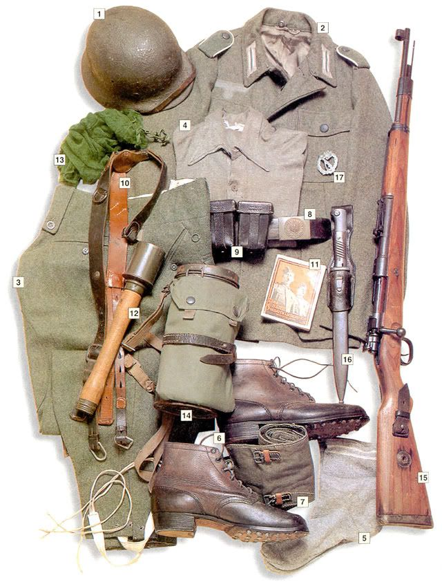 "Private, Volksgrenadier division, Italy/Greece, 1944 ---  01 - M-40 helmet;  02 - M-43 summer jacket;  03 - ski trousers;  04 - shirt;  05 - socks;  06 - boots;  07 - M-41 leggins;  08 - main belt;  09 - ammo pouches;  10 - M-38 webbing;  11 - military songbook;  12 - M-24 grenade;  13 - face net;  14 - M-38 gas mask;  15 - 7,92 mm Mauser 98k rifle;  16 - M-84/98 bayonet;  17 - ""Infanterie-Sturmabzeichen""- Infantry assault badge."