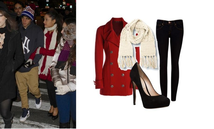 ~Ariana Grande Outfit Inspiration~ Coat: NIC+ZOE Easy Knit Jacket $168 - nicandzoe.com Pants: Warehouse Distressed Skinny £42 - warehouse.co.uk ($56.28) Shoes: Nicholas Kirkwood Suede pump $278 - elizabeth-charles.com Scarf: Quiksilver Rolling In Scarf  $17 - quiksilver.com