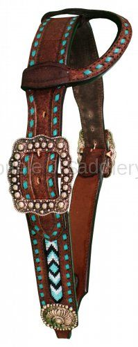 "1 7/8"" Tapered Brown Rough Out Headstall - H1087"