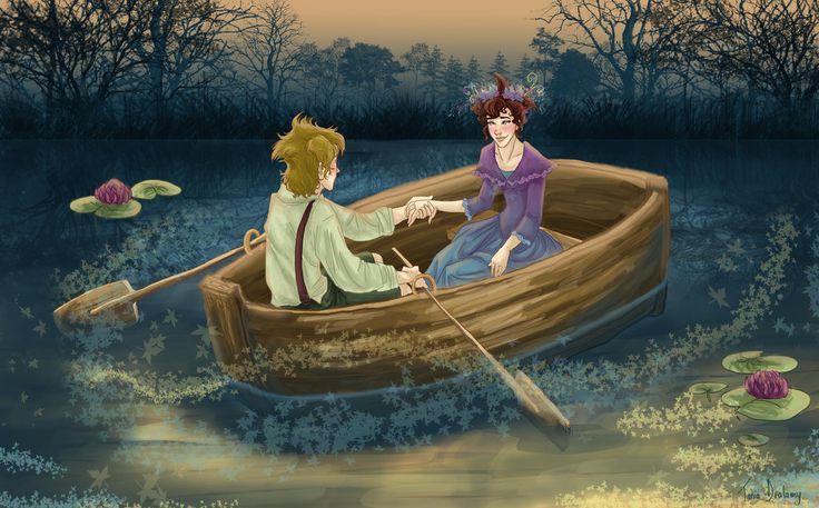 uma bela cena de Grisam e Pervinca enyoing companhia uns dos outros: