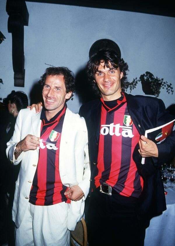 Franco Baresi and Paolo Maldini at a formal party, but not dressing very formal!