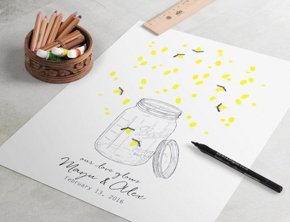 Large Fireflies Wedding Guest Book: wedding fingerprint guest